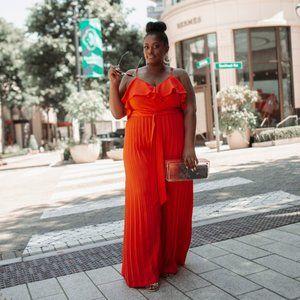 Pleated To Perfection Jumpsuit - Orange